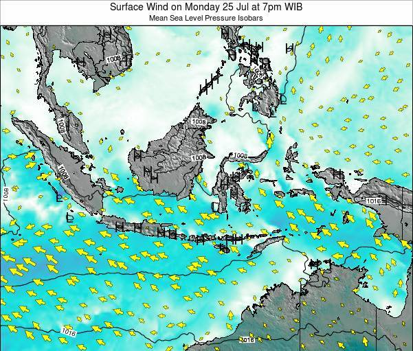 Indonesia Surface Wind on Saturday 26 Jul at 1pm WIT