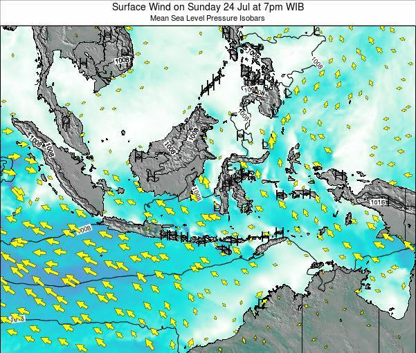 Indonesia Surface Wind on Wednesday 30 Jul at 1pm WIT