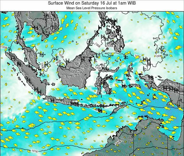 Indonesia Surface Wind on Wednesday 11 Dec at 7am WIT