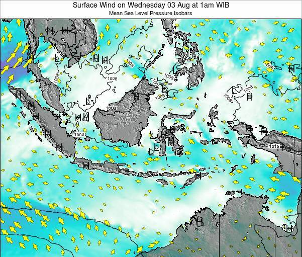 Indonesia Surface Wind on Thursday 24 Apr at 7pm WIT