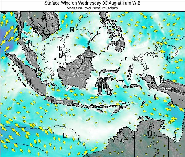 Indonesia Surface Wind on Thursday 21 Feb at 7am WIB map