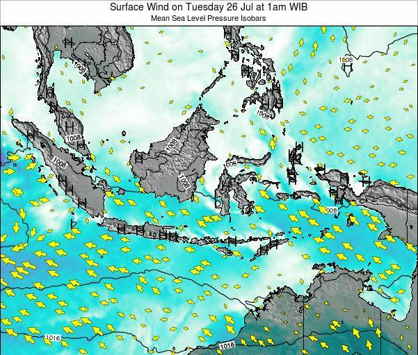 Indonesia Surface Wind on Sunday 20 Jan at 7pm WIB map