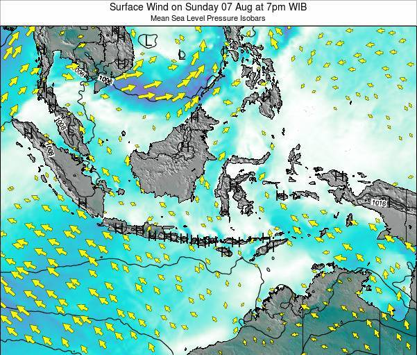 Indonesia Surface Wind on Sunday 20 Apr at 1am WIT
