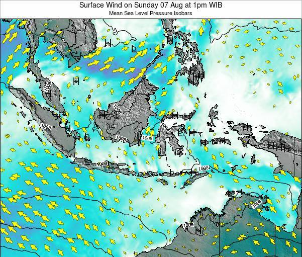 Indonesia Surface Wind on Sunday 27 Jul at 1pm WIT