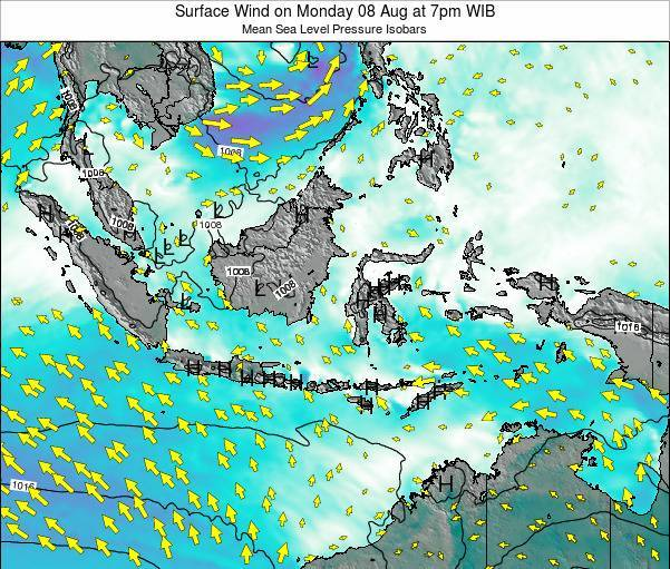 Indonesia Surface Wind on Sunday 27 Apr at 1pm WIT