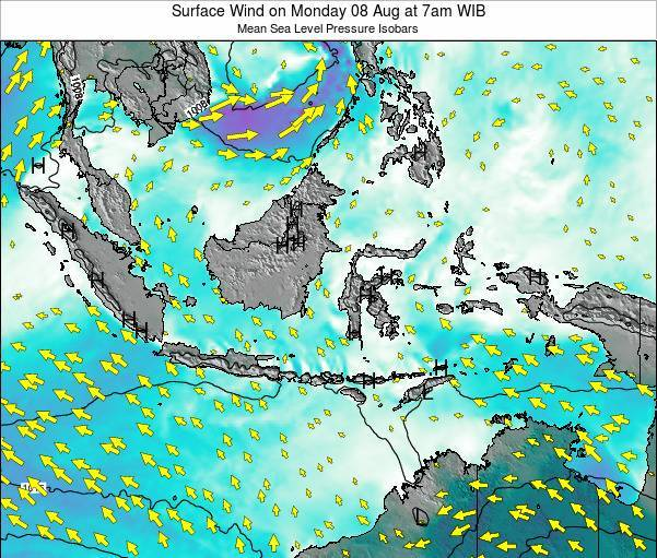 Indonesia Surface Wind on Tuesday 23 Sep at 1pm WIT