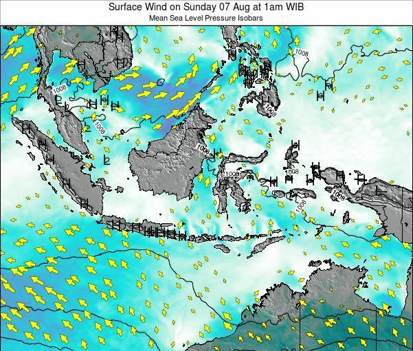 Indonesia Surface Wind on Saturday 14 Dec at 7pm WIT
