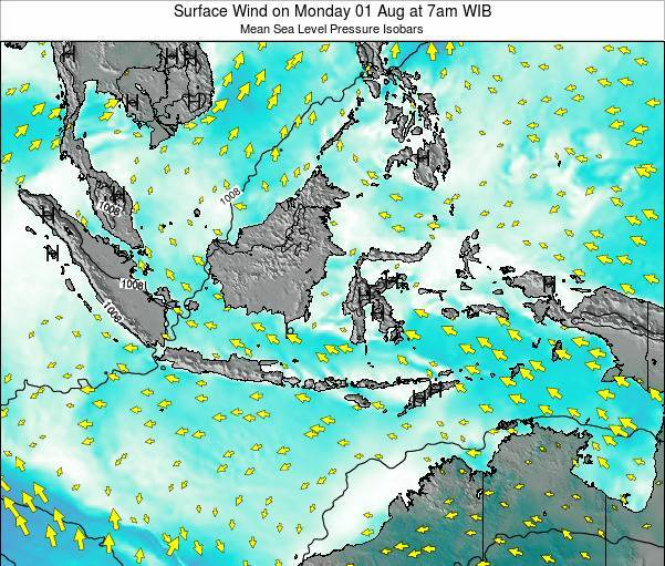 Indonesia Surface Wind on Monday 04 Aug at 7am WIT