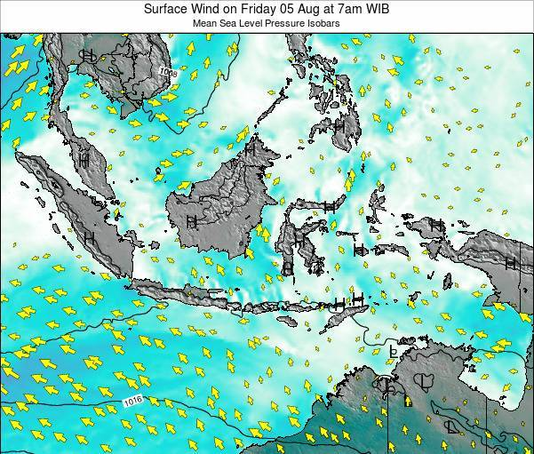 Indonesia Surface Wind on Saturday 18 May at 7am WIT