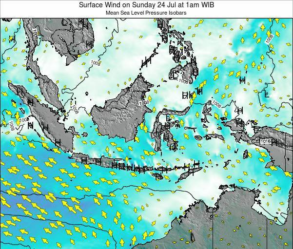 Indonesia Surface Wind on Tuesday 19 Jun at 7pm WIB map