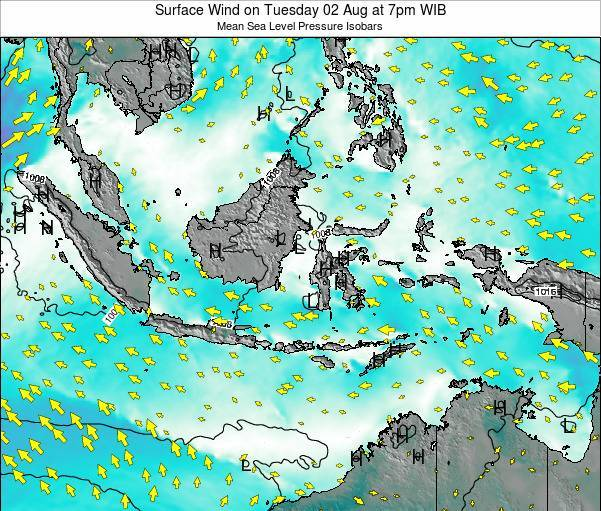 Indonesia Surface Wind on Friday 22 Feb at 7am WIB map