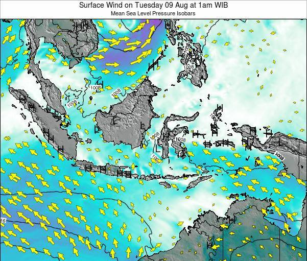 Indonesia Surface Wind on Saturday 27 Jul at 1am WIB map