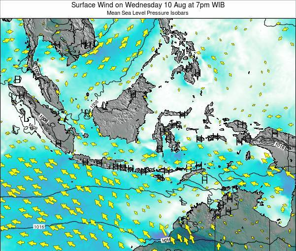 Indonesia Surface Wind on Saturday 23 Feb at 1am WIB map