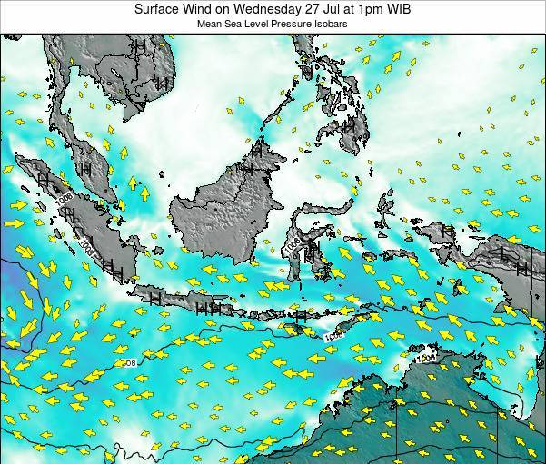 Indonesia Surface Wind on Tuesday 20 Nov at 7pm WIB map