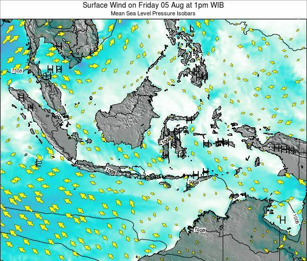 Indonesia Surface Wind on Monday 28 Jul at 7am WIT
