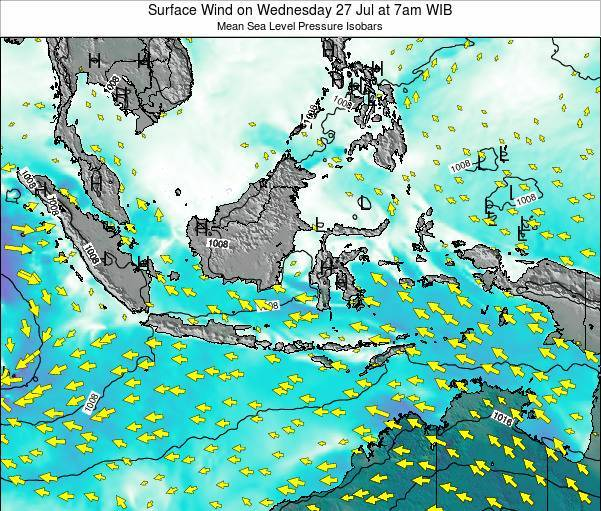 Indonesia Surface Wind on Sunday 26 Oct at 1am WIT