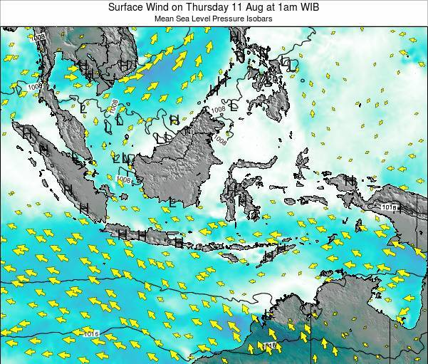 Indonesia Surface Wind on Monday 04 Aug at 7pm WIT