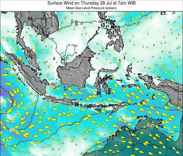 Indonesia Surface Wind on Wednesday 22 May at 1am WIT