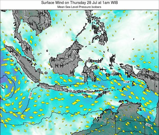 Indonesia Surface Wind on Tuesday 11 Mar at 1pm WIT