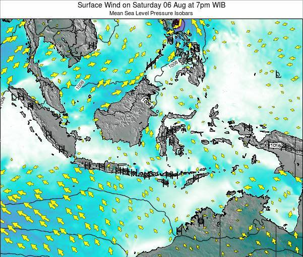 Indonesia Surface Wind on Friday 13 Dec at 1pm WIT