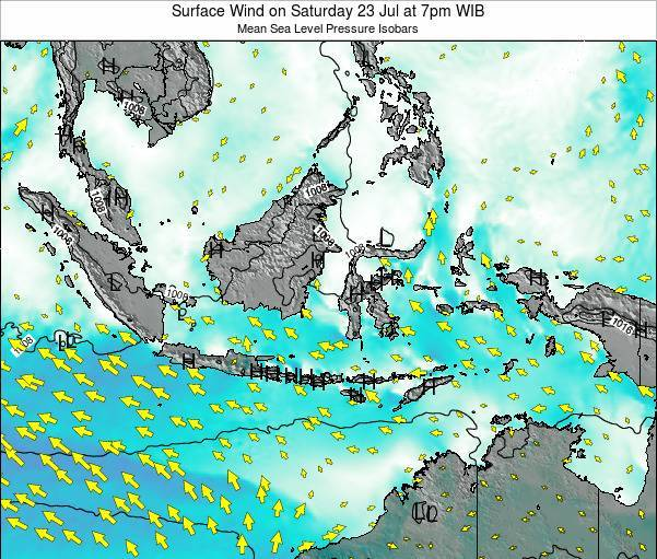 Indonesia Surface Wind on Tuesday 22 Apr at 7pm WIT