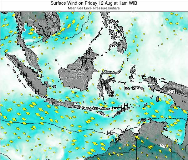 Indonesia Surface Wind on Thursday 26 Jan at 7pm WIB