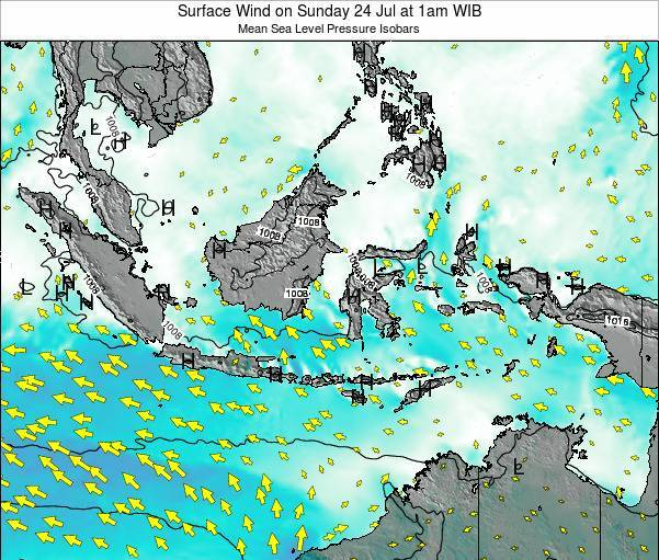 Indonesia Surface Wind on Friday 14 Dec at 1am WIB map