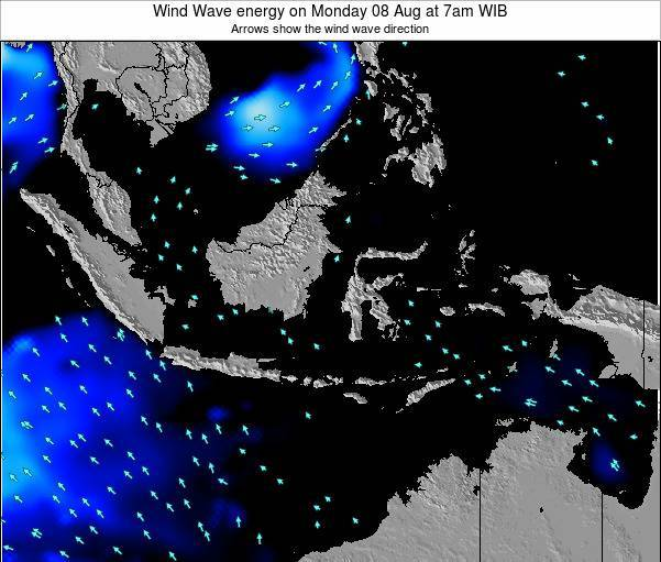 Indonesia Wind Wave energy on Monday 04 Aug at 1am WIT