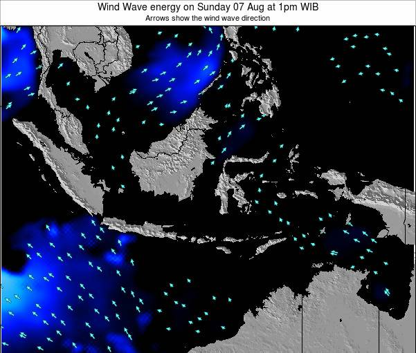 Indonesia Wind Wave energy on Monday 25 Jun at 1am WIB map