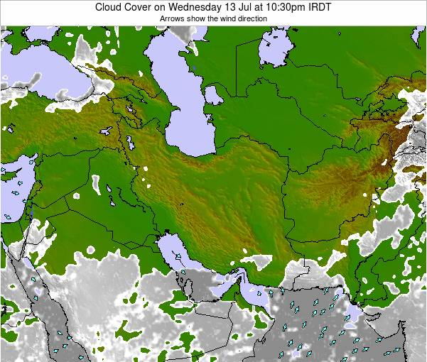 Iran Cloud Cover on Tuesday 21 May at 10:30pm IRDT map