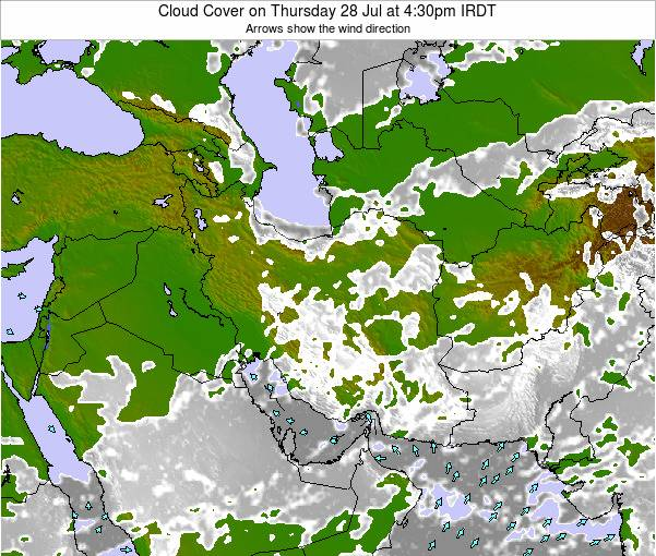 Turkmenistan Cloud Cover on Wednesday 30 Jul at 10:30am IRDT map