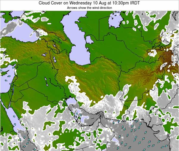 Iran Cloud Cover on Friday 31 May at 10:30pm IRDT map