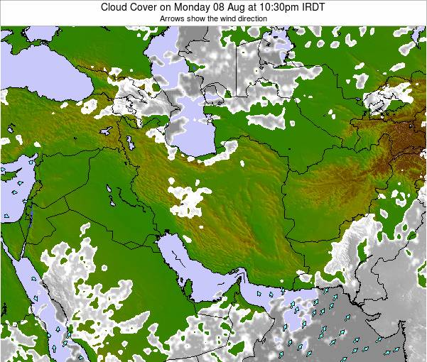 Iran Cloud Cover on Sunday 26 May at 4:30pm IRDT map