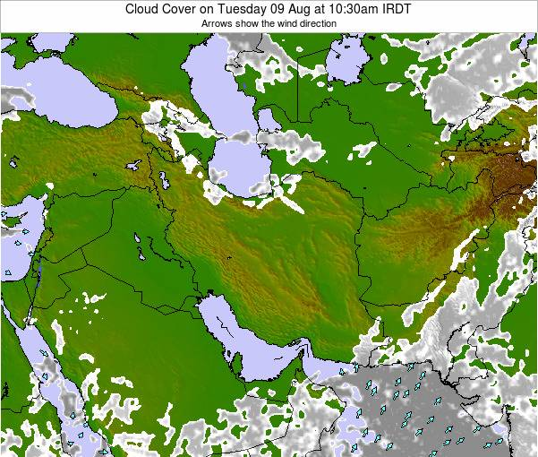 Iran Cloud Cover on Monday 27 May at 10:30am IRDT map