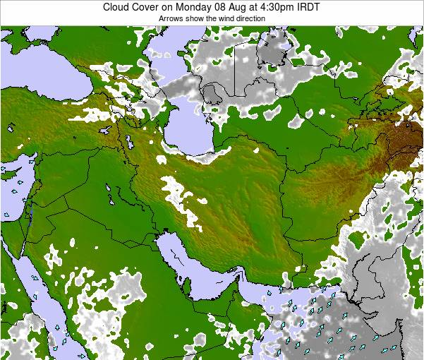Iran Cloud Cover on Thursday 23 May at 4:30pm IRDT map