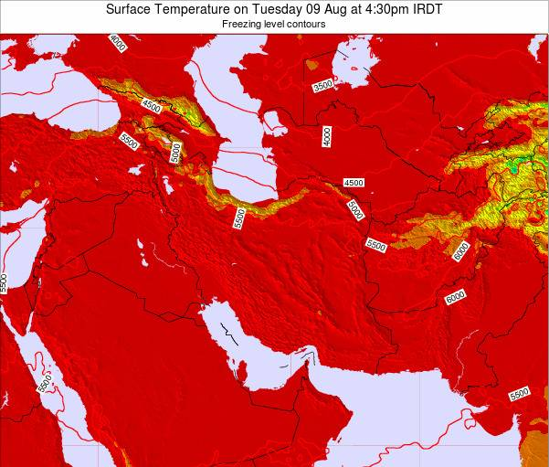 Iran Weather Map.Iran Surface Temperature On Monday 04 Mar At 9 30pm Irst
