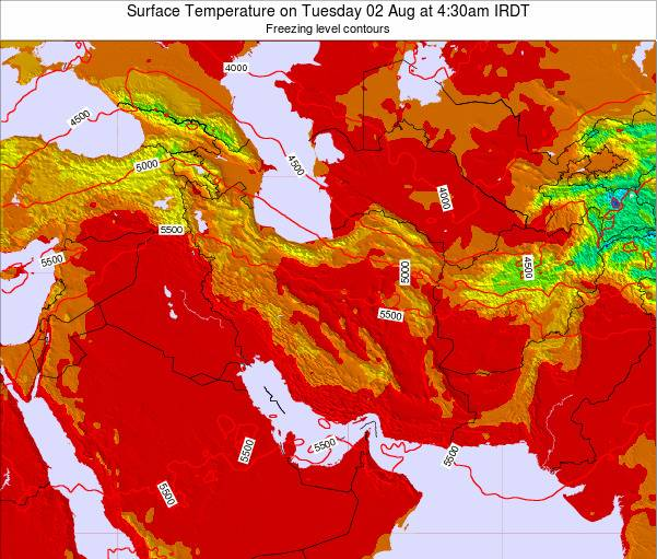 Iran Weather Map.Iran Surface Temperature On Thursday 27 Dec At 3 30am Irst