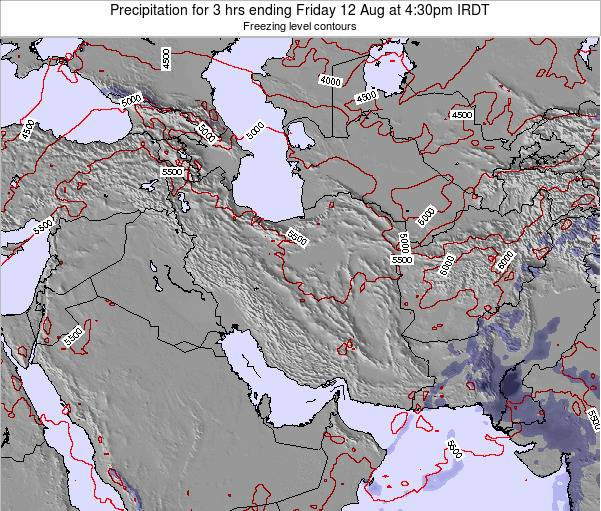 Iran Precipitation for 3 hrs ending Friday 21 Dec at 3pm Tehran time map