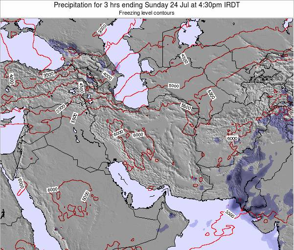 Turkmenistan Precipitation for 3 hrs ending Friday 24 May at 10:30am IRDT map