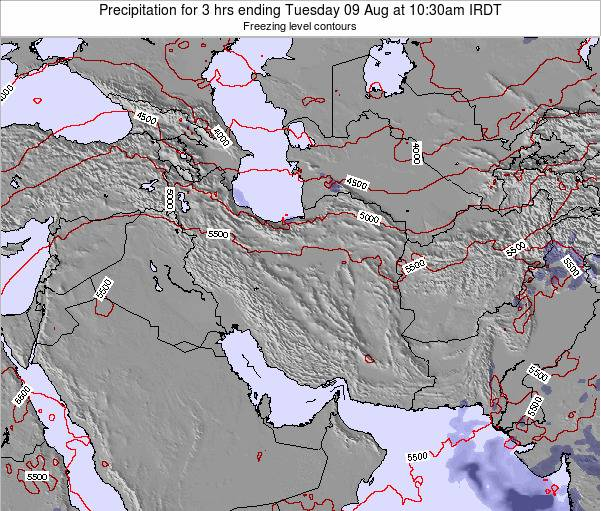 Iran Precipitation for 3 hrs ending Monday 17 Dec at 3pm Tehran time map