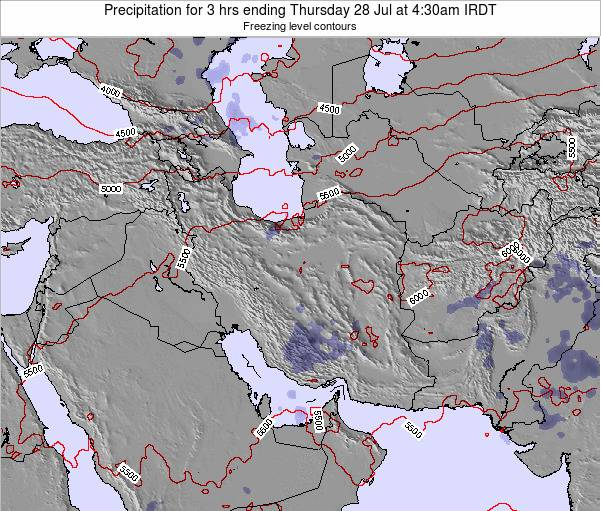 Iran Precipitation for 3 hrs ending Saturday 22 Dec at 3am Tehran time map