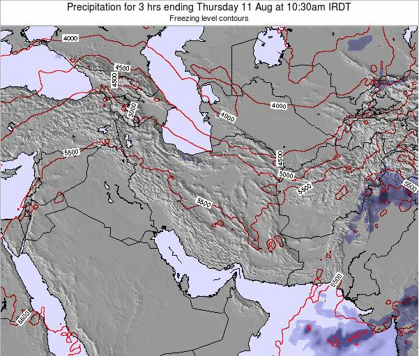 Iran Precipitation for 3 hrs ending Saturday 22 Dec at 3pm Tehran time map