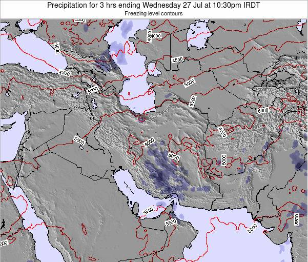 Iran Precipitation for 3 hrs ending Sunday 23 Dec at 3am Tehran time map