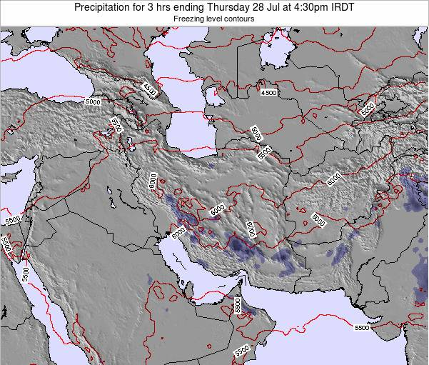 Iran Precipitation for 3 hrs ending Sunday 23 Dec at 3pm Tehran time map