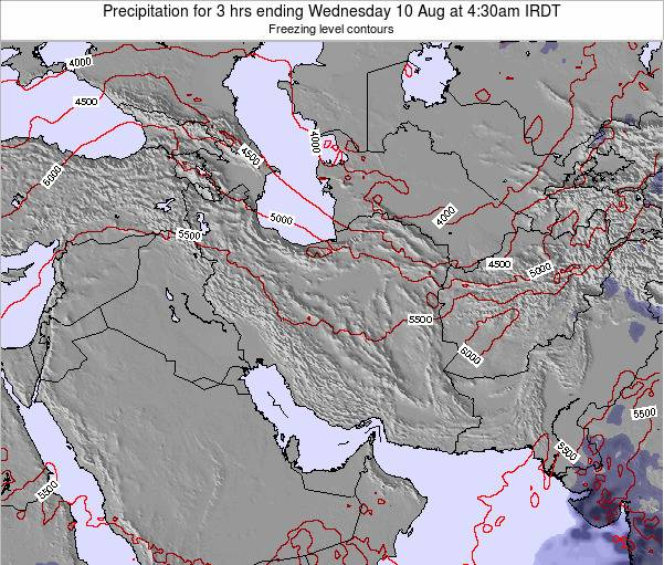 Iran Precipitation for 3 hrs ending Monday 24 Dec at 3am Tehran time map