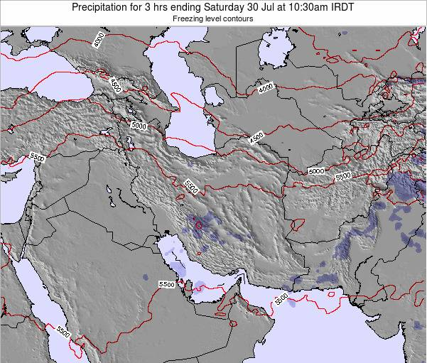 Iran Precipitation for 3 hrs ending Tuesday 18 Dec at 3am Tehran time map