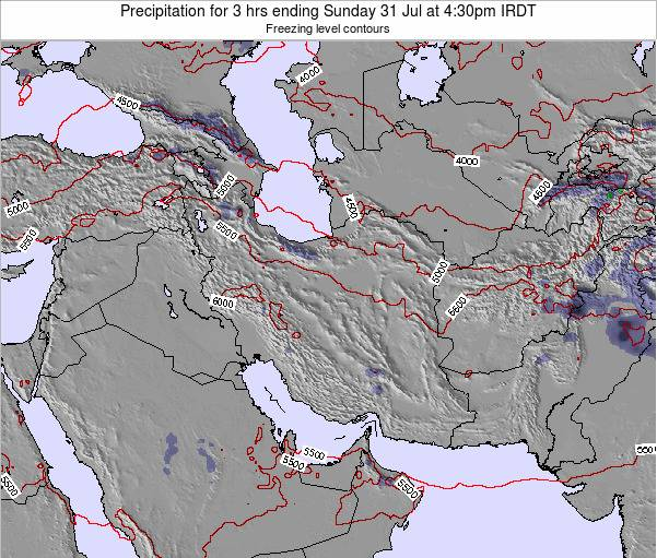 Iran Precipitation for 3 hrs ending Tuesday 18 Dec at 3pm Tehran time map