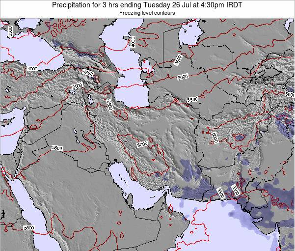 Turkmenistan Precipitation for 3 hrs ending Monday 27 May at 10:30pm IRDT map