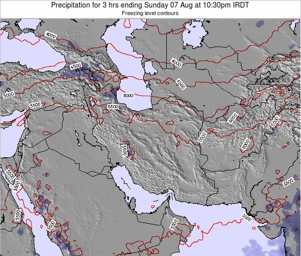 Iran Precipitation for 3 hrs ending Wednesday 19 Dec at 3am Tehran time map