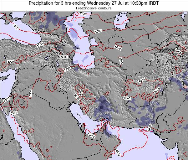 Iran Precipitation for 3 hrs ending Wednesday 19 Dec at 3pm Tehran time map